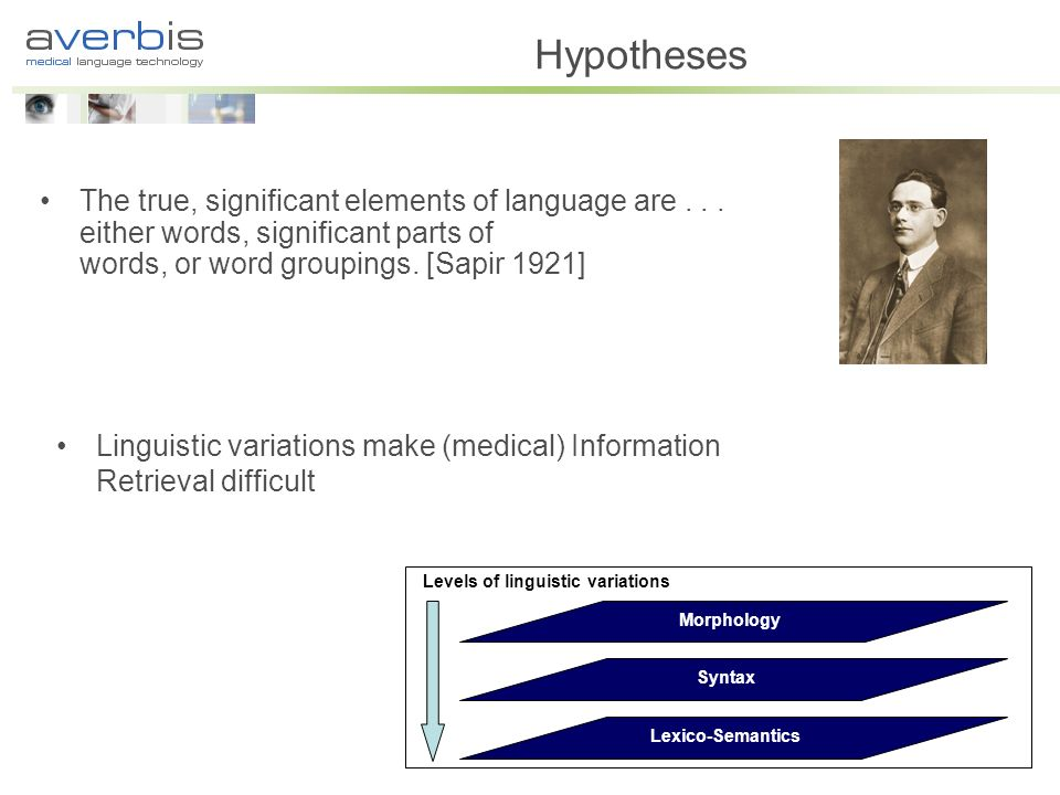 Hypotheses The true, significant elements of language are . . . either words, significant parts of words, or word groupings. [Sapir 1921]